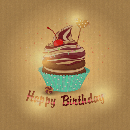 Vector illustration of cupcake birthday. Festive cupcake birthda Standard-Bild