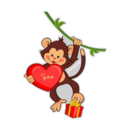 chimpanc�s: Ilustraci�n de los monos para el vector backgrou holiday.Seamless