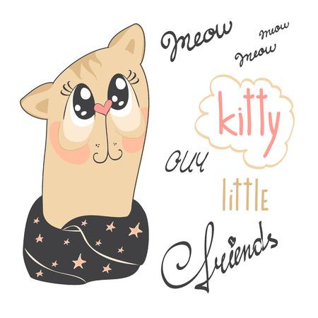 星と暖かいスカーフを着たかわいい猫のイラスト。  イラスト・ベクター素材