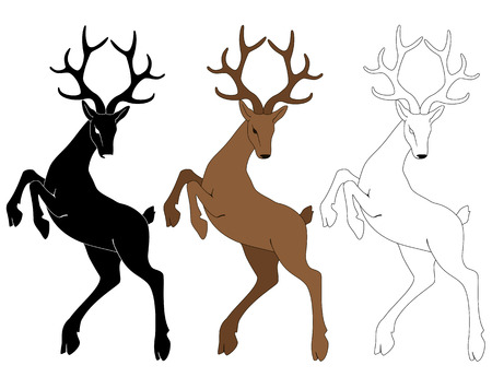 describe: Vector illustration of silhouette of a deer in the jump.