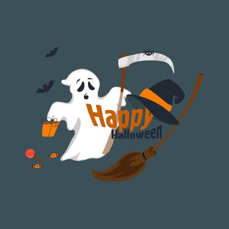 Fun for Halloween flat design vector illustration. Illustration