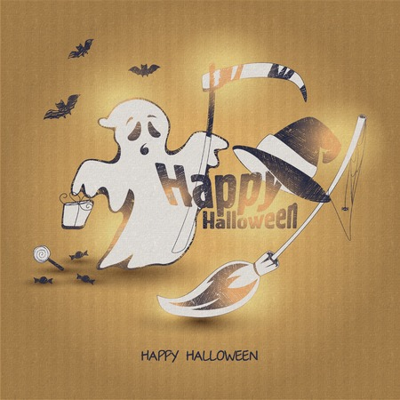 phantom: Fun for Halloween flat design vector illustration. Illustration