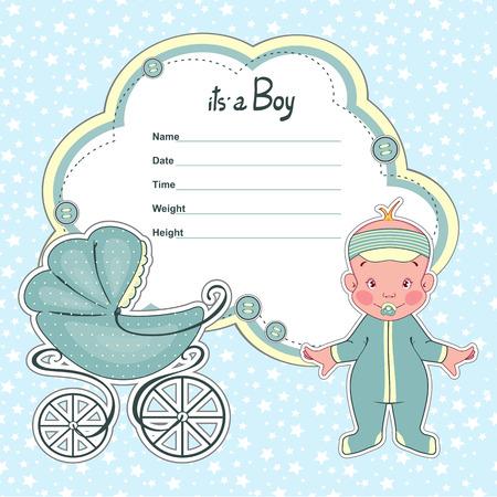 gemelos niÑo y niÑa: Tarjeta de la ducha de bebé para un niño recién nacido con un sidecar.