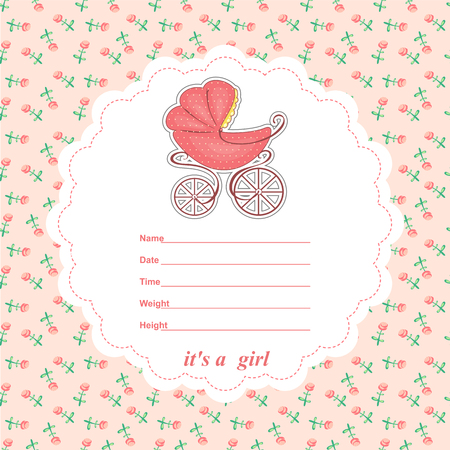baby girl: Baby shower card newborn girl with a stroller. Vector illustration