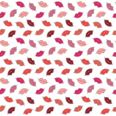 Seamless vector background colored lips.