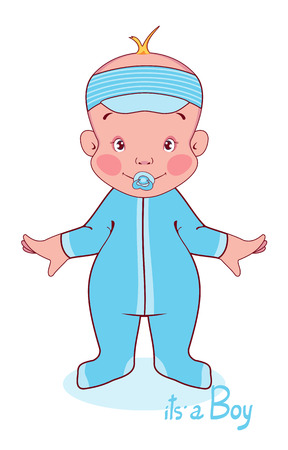 Vector illustration of a young child in blue overalls, this boy. Illustration