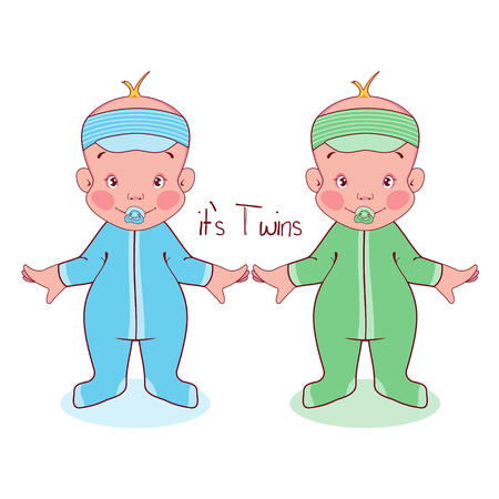 Vector illustration of little kids in suits, it's twins, boys. Illustration