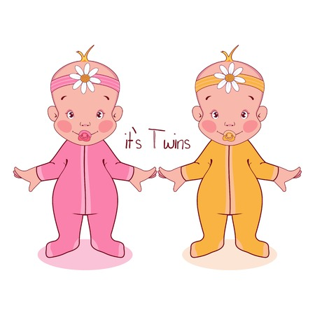 Vector illustration little kids in suits, it's twins, girls.