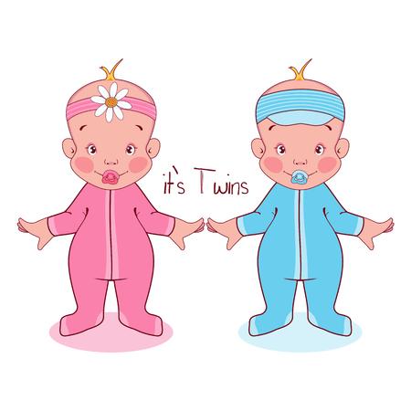 ilustración vectorial niños pequeños en trajes, es gemelos.