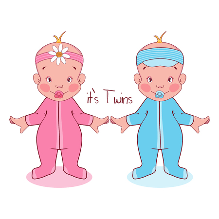 Vector illustration little kids in suits, it's twins. Illustration