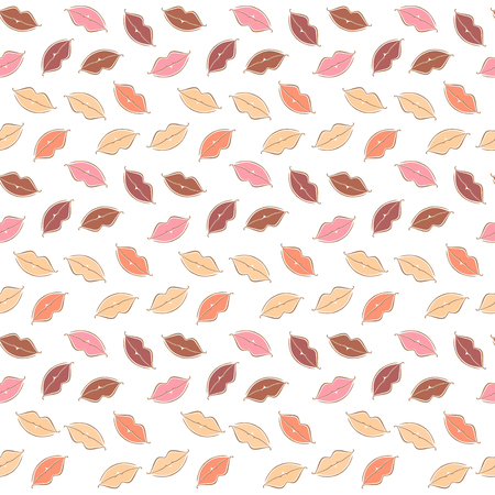 Vector seamless background body parts, lips.