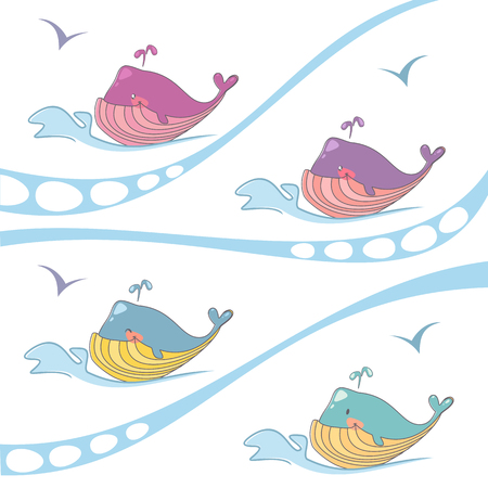 sail fin: Vector set of colored whales on the waves, the logo of the organ