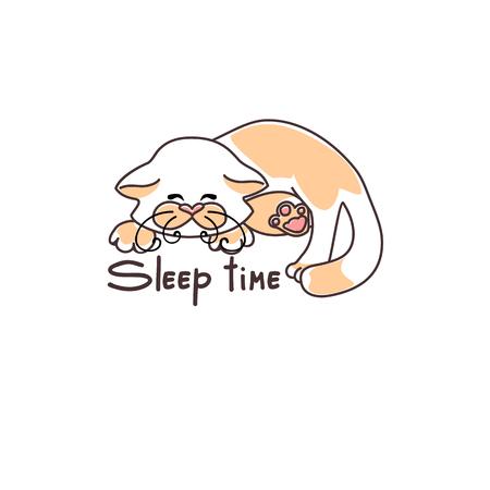 purring: Vector picture cute sleeping kitten, sleeping.