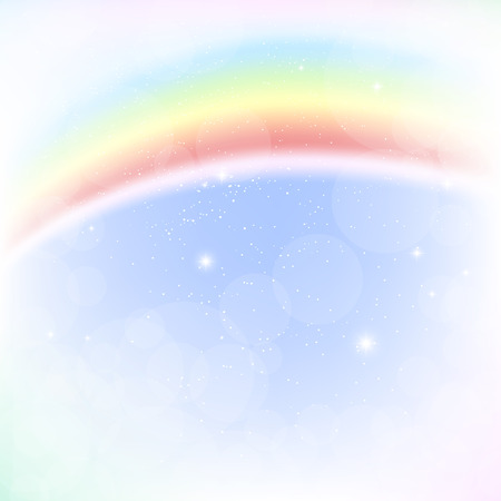 rainbow sky: Abstract image of a rainbow in the blue sky. Illustration