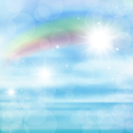 Abstract image of a rainbow on blue sky with sun glare. Illustration