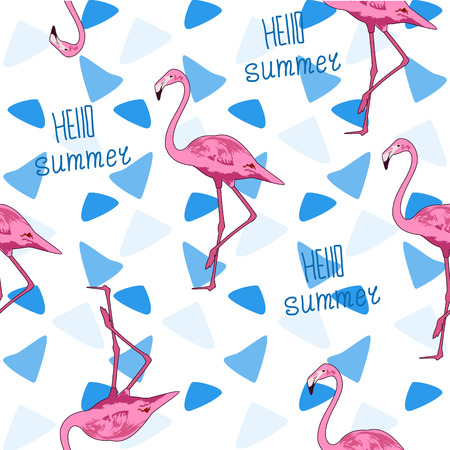 Seamless background illustration of a Flamingo. Print of pink fl