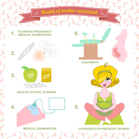 illustration of a set healthy food for pregnant women,