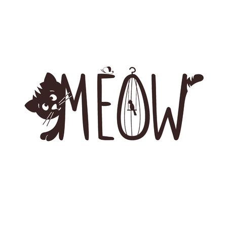 Vector illustration of a little kitten. The cat s meow, hunt.