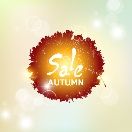 Autumn pattern with colorful translucent leaves. The autumn sale.