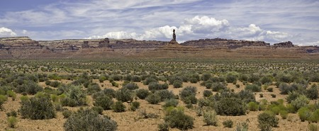 A panoramic view of the Valley of the Gods, Utah. Stock Photo