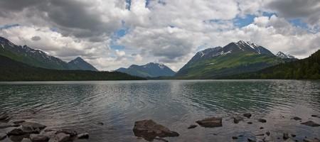 A panoramic view of Upper Trail Lake on the Kenai Peninsula in Moose Pass, Alaska.