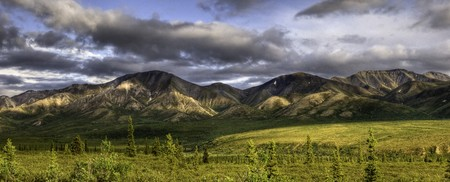 A mountain panorama with dramatic clouds and a lush boreal tundra in the foreground, Denali National Park, Alaska. Stok Fotoğraf