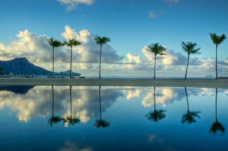Un reflejo de la salida del sol de seis de las palmeras en la playa de Waikiki, Oahu, Hawaii.  Foto de archivo
