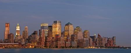 An night panorama of the New York City downtown skyline. Stock Photo - 7605398