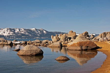 A clear morning in Zephyr Cove, Nevada with views of the Californiaside of Lake Tahoe.