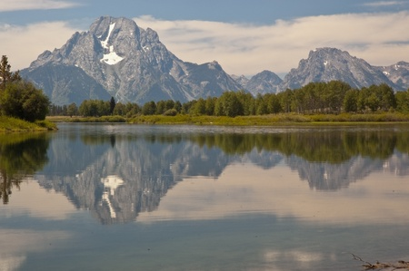 A reflection of Mount Moran on the Snake River in Moran Junction, Grand Tetons National Park, Wyoming.