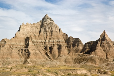 A view of the carved sandstone in Badlands National Park, South Dakota. photo