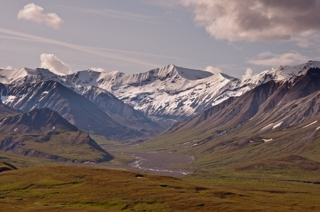 denali: The view of Sunset Glacier to the South of Eileson Visitor Center in Denali National Park, Alaska. Stock Photo