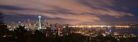 puget sound: Downtown Seattle, Washington and Puget Sound panorama at night. Stock Photo