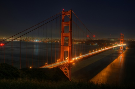 A night shot of the San Francisco skyline and the Golden Gate Bridge.