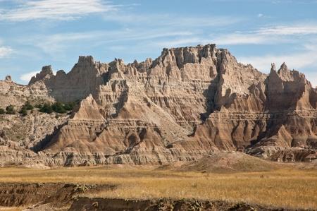 A view of the carved sandstone in Badlands National Park, South Dakota.