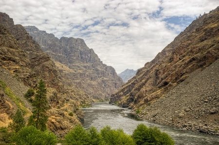 idaho state: View into Hells Canyon from the Visitors Center on the Oregon Idaho border