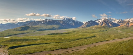 A panoramic view to the South from Polychrome Point in Denali National Park, Alaska.