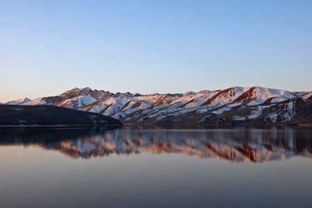 A sunrise reflection on Topaz Lake, Nevada.