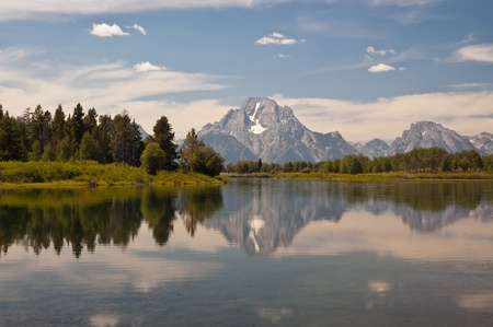 A reflection of Mount Moran on the Snake River in Moran Junction, Grand Tetons National Park, Wyoming. Stock Photo - 9013100