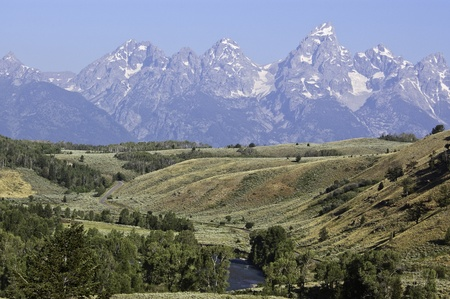 The peaks of the Grand Tetons National Park Stock Photo