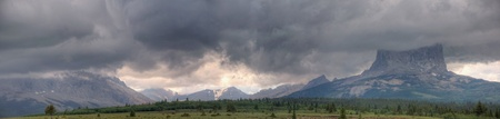 A storm passes over Chief Mountain in Glacier National Park, Montana.