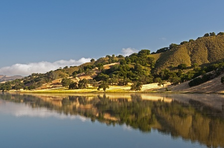 chaparral: A morning reflection of the rolling hills and chaparral of the central California coast Stock Photo