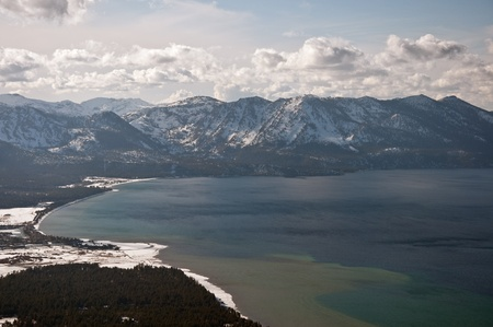 south lake tahoe: A view of the California side of Southern Lake Tahoe from atop the surrounding mountains.