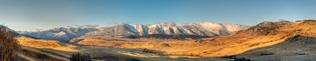 A panoramic view of the West Boulder River valley in McLeod, Montana.