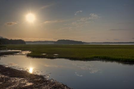 Sunrise on the Pinckney Island Wildlife Refuge on the coast of South Carolina.
