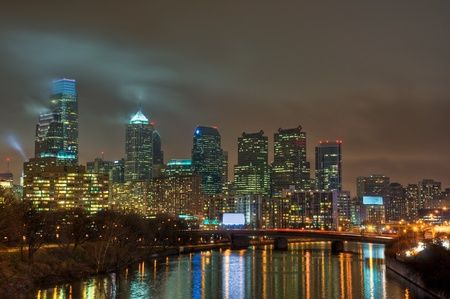 The Philadelphia, Pennsylvania skyline at night.