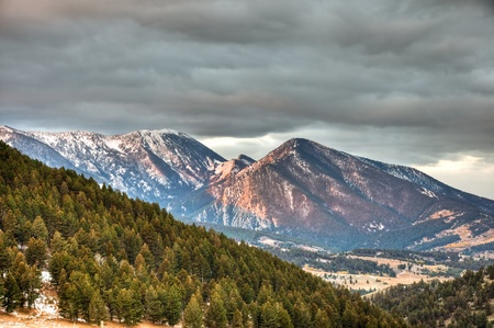 The snow capped mountains of Gallatin National Forest outside Livingston, Montana.