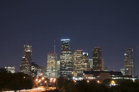 The skyline of Houston, Texas on a clear night.