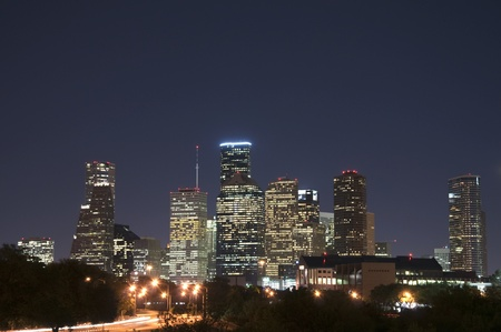 The skyline of Houston, Texas on a clear night. photo