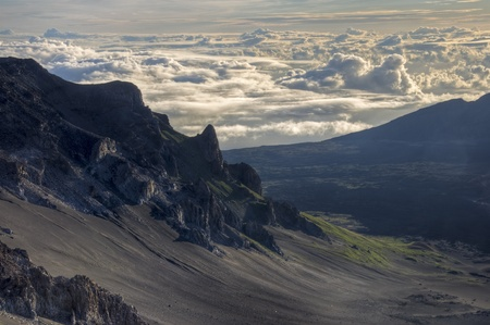 The 10,000 foot view of the volcanic crater of Mount Haleakala, Maui, Hawaii. Stock Photo